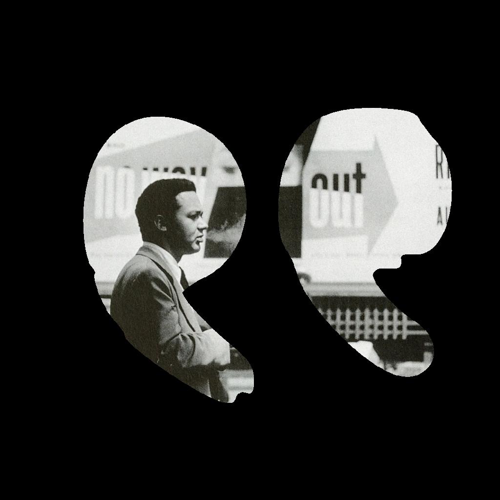 Graphiste Paul Rand de profil.