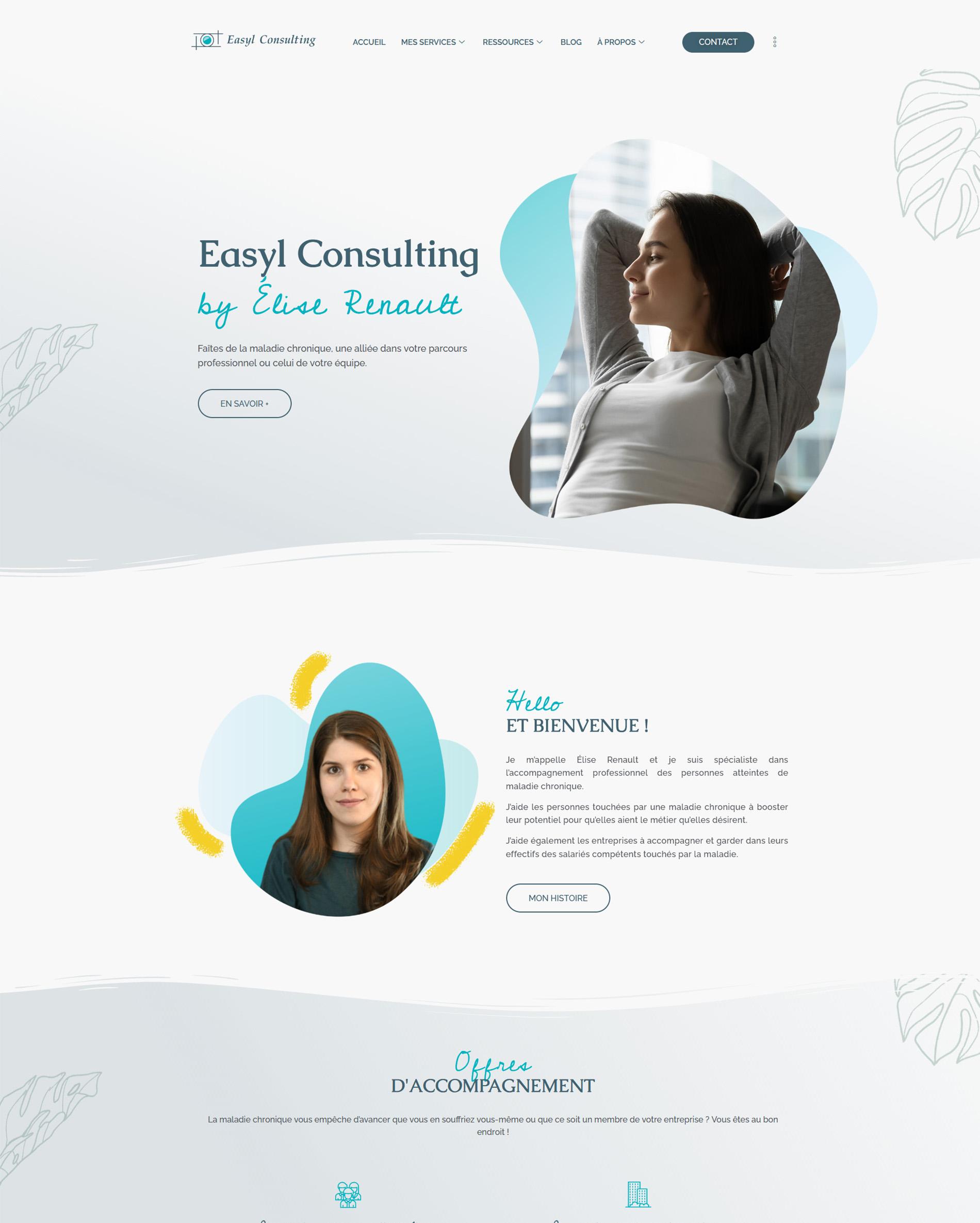 Screen après refonte du site web d'Easyl Consulting
